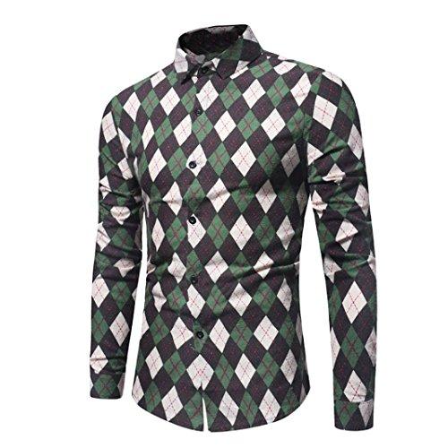 Herren Hemden,Sannysis Männer Freizeit Hemd Man Retro Floral Bedruckte Bluse lässig Langarm Slim Shirts Tops (3XL, Grün) (Langarm-bluse Florale)