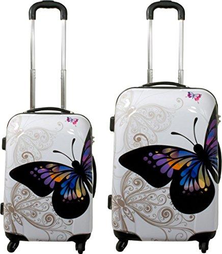 ABS Hartschalen Kofferset mit Leichtlaufrollen verschiedenen Motiven Farbe Butterfly