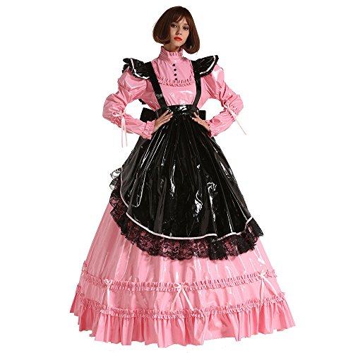 GOceBaby Französische Stil PVC Prissy Sissi Zofen Abschließbar Lange Kleider Kostüm Uniform (XXXL) (Pvc Kleider)