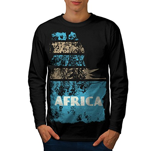 Dschungel Wüste Cool Afrika Land Leben Herren M Langarm-T-Shirt | Wellcoda (Süd-afrika Flagge T-shirt)