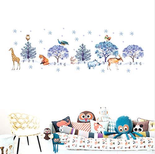 LGXINGLIyidian Schnee Wald Niedlichen Tier Flugzeug Wandaufkleber Möbel Schlafzimmer Abziehbilder Für Kinder Erwachsenen Hause Shop Kindergarten Dekoration
