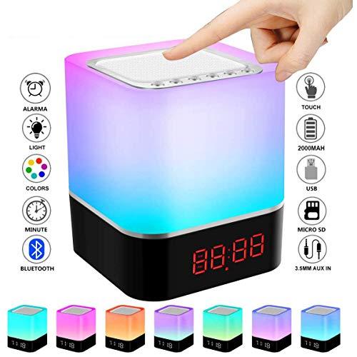 Reloj Despertador, Altavoz Bluetooth Control Táctil Lámpara Cabecera, Tabla Sensores MP3 Portátil...