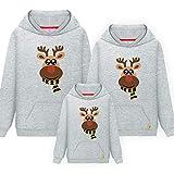 Morbuy Pullover mit Kapuze Eltern-Kind Damen Herren Kind Sweatshirt, Elch Pullover Langarm T-Shirt Rundhals Ausschnitt Lose Bluse Oberteil Hemd Tops Männer und Frauen Weihnachten Geschenk.