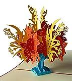 Pu38 Bezaubernde 3D Pop Up Karte mit Umschlag als Dankeschön, zum Geburtstag, zur Verlobung, zur Genesung, zum Jahrestag oder einfach nur als schöne Gutscheinkarte, filigranes Kunstwerk als Einladungskarte oder Glückwunschkarte zum Jubiläum, Blumenkarte