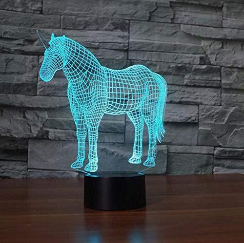 3D Nachtlicht sieben Farbwechsel Modell Acryl Tischlampe Farbwechsel Pony kleine Kinderzimmer Dekoration kleine Kinder Geschenk Licht USB LED