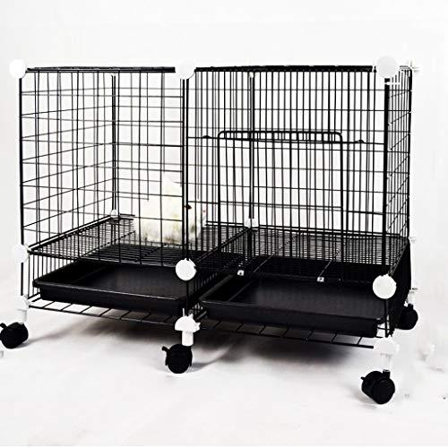 SuRose Kleine tragbare Hundekiste mit Rädern, White Metal Pet House, Außenbereich, Puppy Cat-Übungszaun Barrier-Laufstall-Zwinger, 75 * 37 * 52 cm (Farbe: Schwarz) (Schwarze Holz-zwinger)