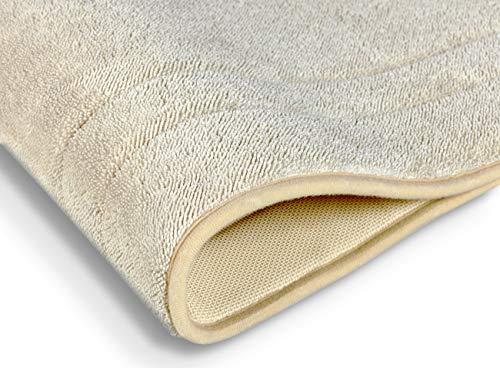saewelo Badematten - Shabby Chic Badteppich mit Memory Foam - Badezimmerteppich | Duschvorleger | Badematte | Badeteppich-Set, rutschfest und waschbar (Creme Beige, 53 x 86 cm)