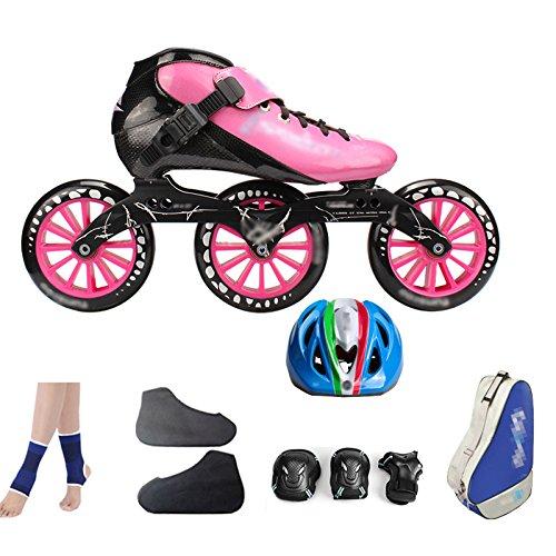MLSS LI Carbonfaser-Eisschnelllauf-Schuhe, Die Professionelle Große Rollerskate-Schuhrollschuhe der Erwachsenen Kinder Rollen Inline-Rollschuhe Rosa,PinkE-41