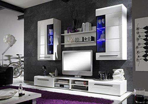Regalwand Bravo Trend m. LED Beleuchtung- Weiß Hochglanz