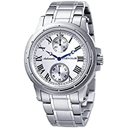 Thomas Earnshaw Men's Ashton Automatic Watch with White Dial Analogue Display and Silver Stainless Steel Bracelet ES-8007-11