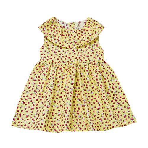 (MRURIC Sommer Säuglingsbaby ärmelloses Blumendruckkleid Kleider,Mädchen Blumendruck Kleid Der Kinder Kleinkind Baby Kind RüSchen Karikatur Druckte Kleidausstattungs Kleidung)