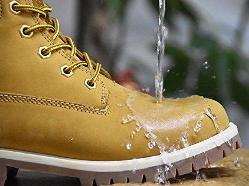 Knixmax Herren Leder Stiefel Stiefeletten Boots,Wanderstiefel,Outdoorstiefel,Worker Boots und Biker Schuh|Gummisohle|Schnürschuh|Wasserdicht|Warme Gefüttert|Schwarz Braun Beige|Blockabsatz Stiefel Braun