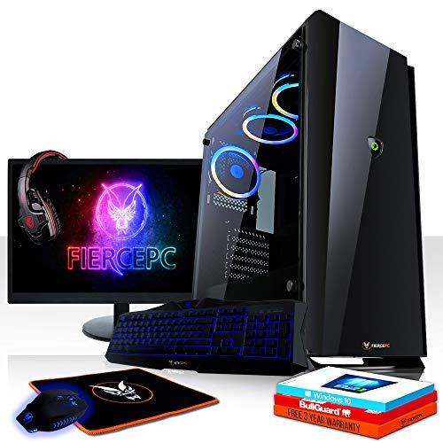 Fierce Marksman RGB Gaming PC Bundeln - 4.0GHz Hex-Core Intel Core i5 8400, 480GB SSD, 2TB HDD, 32GB, NVIDIA GeForce GTX 1050 Ti 4GB, Win 10, Tastatur (QWERTY), Maus, 21.5-Zoll-Monitor, Headset 927853