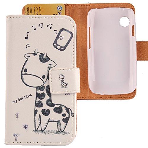 Lankashi PU Flip Leder Tasche Hülle Case Cover Schutz Handy Etui Skin Für Wiko Ozzy Giraffe Design