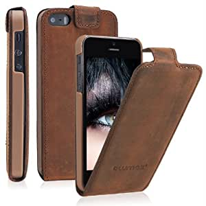 iPhone SE iphone 5s / 5 Flipstar Lederhülle / Ledertasche / Hülle / Case / Cover / Etui / Tasche von Blumax® für Apple aus echtem Leder braun für 4 Zoll Handy aufklappbar Flip mit Magnetverschluss