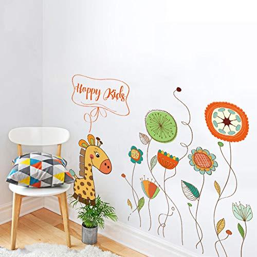 Wandtattoo kinderzimmer aufkleber kinder tieren küchen wanddeko Giraffe Blume Blatt Löwenzahn Sunflower Diy Wandaufkleber Steuern Dekor Wohnzimmer Toiler Baby Zimmer Tapete