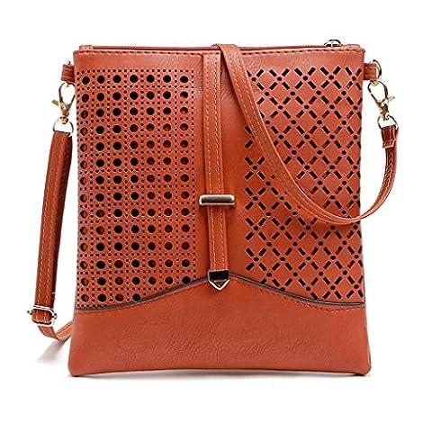 ESAILQ Les femmes en cuir Satchel épaule fourre-tout Messenger sac à bandoulière Hobo Sac à main (Marron)