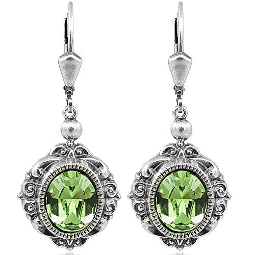 Ohrringe mit Kristallen von Swarovski Grün Silber Ohrhänger NOBEL SCHMUCK