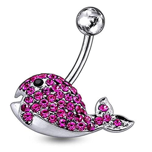 Bijou de Corps anneau de nombril en argent avec pierre fantaisie forme baleine Pink