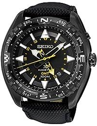 Seiko negro Dial piel de acero inoxidable cuarzo hombres del reloj sun057