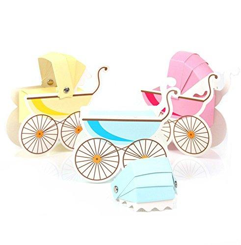 Yalulu 50 Stück Kinderwagen Gestalten Gastgeschenke Taufe Baby-Süßigkeit Baby Candy Box Candy Flaschen Geschenk Box Baby-Dusche-Bevorzugungen Taufe Geschenk (Blau)