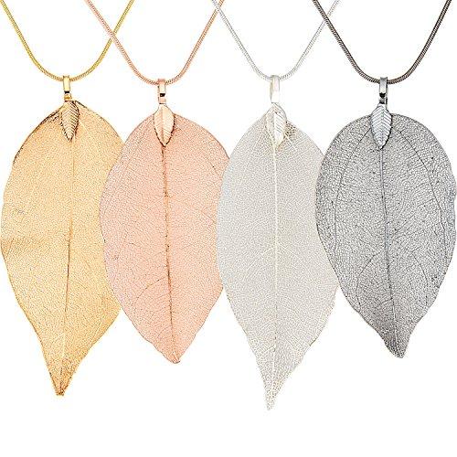 Gejoy 4 Stück Blatt Kette Halskette Natürlichen Filigranen Blatt Anhänger Halskette Lange Böhmischen Schmuck für Damen Favors, 4