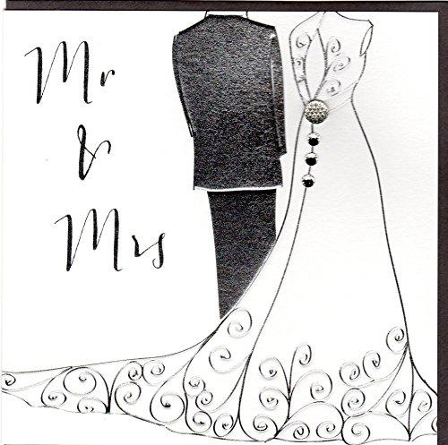 Belly Button Designs 022 Paloma elegante Hochzeitskarte mit Prägung und Kristallen BB 022
