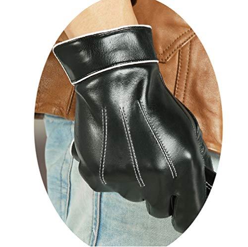 Guanti Invernali in Pelle per Uomo, Guanti da Guida con Fodera Calda con Testo Touchscreen,Nero,XL