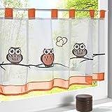 HongYa transparenter Voile Scheibengardine Eule Muster bestickte Bistrogardine mit Schlaufen H/B 45/90 cm