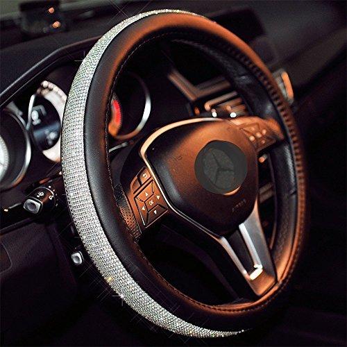Sino Banyan Cystal Lenkradabdeckung Steering Wheel Cover, mit PU-Leder Bling Bling Strass, Schwarz & Silber
