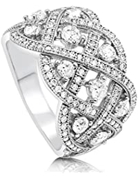 BERRICLE Rhodium Plated Sterling Silver Cubic Zirconia CZ Woven Art Deco Right Hand Cocktail Ring