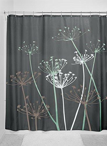 mDesign Duschvorhang Anti-Schimmel - 183 cm x 183 cm - Dusch- & Badewannenvorhang - Duschvorhang wasserabweisend - 12 verstärkte Metallösen - grau/mint