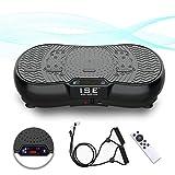 ISE Fitness Vibrationsplatte mit Bluetooth-Lautsprecher,USB,Vibro Shaper 99 Geschwindigkeitsstufen 6 Programme,Schwarz