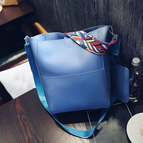 FeiTong Femmes Vintage Sac en cuir d'épaule, Sac à bandoulière Sac à main Bleu