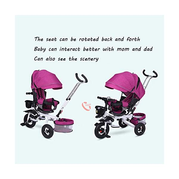 BGHKFF 4 In 1 Childrens Tricycles 8 Months To 6 Years 5-Point Safety Belt 360° Swivelling Saddle Kids' Trikes Adjustable Push Handle Childrens Folding Tricycle Maximum Weight 30 Kg,Gray BGHKFF ★ 4 in 1 multi-function: can be converted into a stroller and a tricycle. Remove the backrest and awning and use the putter as a tricycle. The best choice for 8 months to 6 years. ★ Tricycle foldable, space saving, easy to carry, is the best travel companion; adjustable push rod, push rod is directly connected to the tricycle handlebar through the steering link, parents can use the push rod to control the direction. ★ Rear wheel double brakes, 2 foldable footrests, non-slip handles and pedals, bells, 2 baskets, safe and comfortable driving experience. 5-point seat belt 3