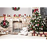 7x5ft (220x150cm) Christmas Backdrops Photography Christmas Tree Fireplace For Home Home Decoration Photo Studio Backgrounds