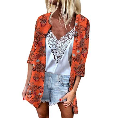 TIFENNY Leichte Strickjacke für Frauen Sommer Bedruckt, Sonnenschutz-Oberteil, halbe Ärmel, locker, durchscheinender Chiffon-Cardigan - Orange - Mittel -