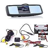 Drahtlose Kabellose Funk Mini Stoßstange Rückfahrkamera mit Hilfslinien und FARB Spiegel Monitor für PKW Auto, Kleine Bus - Rear View Camera