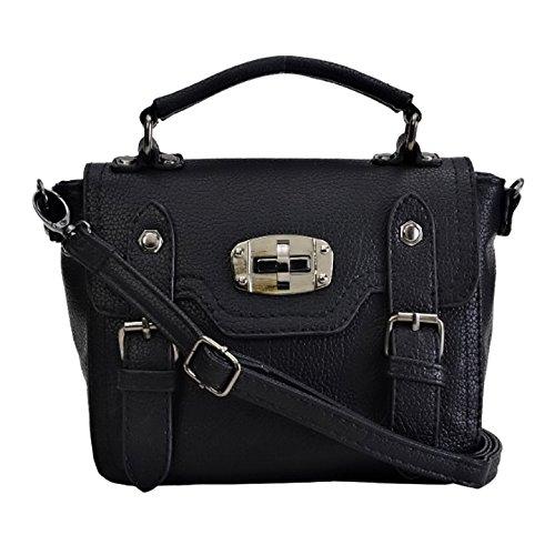 Eyecatch - Damen Leder Mini Messenger Bag Umhangetasche mit langem Riemen Schwarz
