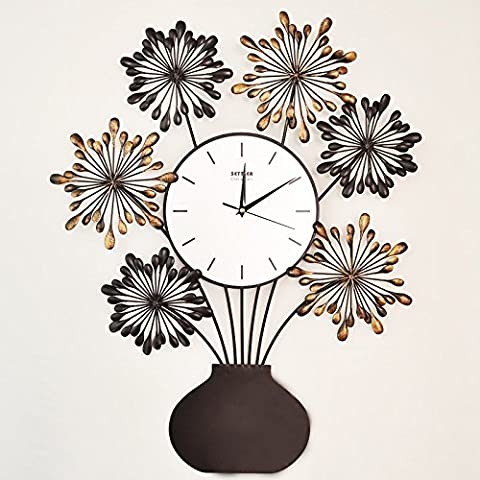 Ling @ Large Antique Vase Wall Clock Stylish Creative Art