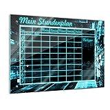 Memoboard 60 x 40 cm, Stundenplan - Matrix - Mädchen & Jungen - Kinderzimmer - Schule - Grundschule - Planer - Stunde - Raum - Lehrer - Uhrzeit - Schreibtisch - Glasbild - Handmade