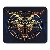 Mauspad Pentagramm mit Dämon Baphomet Satanic Ziegenkopf Binary Symbol Tattoo Retro Musik Sommer für Biker Black Office Supplies Mousepad 9.5x7.9