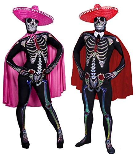 Déguisement de couple pour célébrer le jour des morts avec X2 combinaison moulante X2 sombrero X2 cape + un nœud papillon pour l'homme. Ideal pour les fêtes d'Halloween. ( L/XL ) - ( S/M )