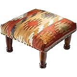 Comercio justo diseño de Maniyar Kilim reposapiés de tela con 80% lana/20% algodón, parte superior y marco de madera (45x 45x 20cm)
