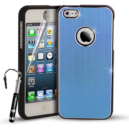MadCase iPhone 5s/5gebürstet Metall Stoßfest 2Teil Cover Bumper Black Bumper 2 Part - Light Blue