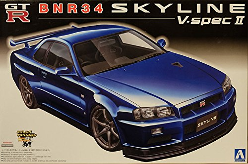 Gtr R34-modell-kit (Nissan Skyline R34 GT-R Blau BNR34 V-Spec 2 Tuning 1998-2002 Kit Bausatz 1/24 Aoshima Modell Auto Modell Auto)