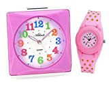 SET: Kinderwecker + Armbanduhr Mädchen Rosa Pink Analog Ohne Ticken Licht Snooze Kinderuhr - Atlanta 1748-17 KAU