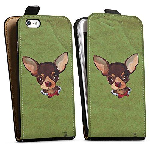 Apple iPhone X Silikon Hülle Case Schutzhülle Chihuahua Hund Dog Downflip Tasche schwarz