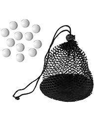 Gazechimp 12pcs Bolas de Golf con 2pcs Clips de Suspensión +1pc Bolsa de Malla de Nylon para Almacenamiento de Bolas de Golf y Tenis de Mesa