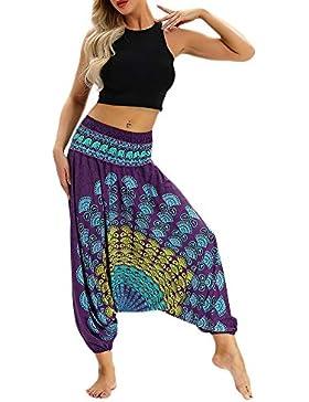 Donna Boho Retro Stampa Harem Pantaloni Baggy Cotone Lino Sottile Vita Elastica Aladdin Etnici Hippie Pants
